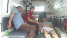 Disaster Drill by WHO   2 ambulances long with EMTs were used for the drill in Bir Hospital and Blue Cross Hospital on 18th September 2016